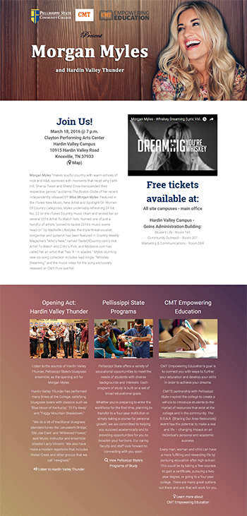 Landing page for CMT Empowering Education Concert at Pellissippi State